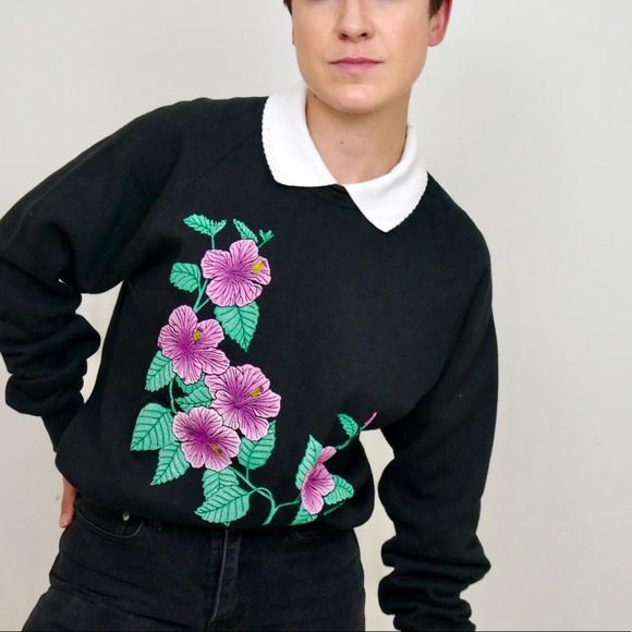 Vintage Sweaters - ‼️$20 SALE ‼️ Vintage Collared Floral Sweatshirt